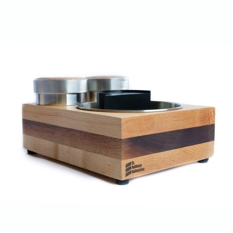 Saint Anthony Industries Bloc tamp station and knock box Maple-Walnut-Stack