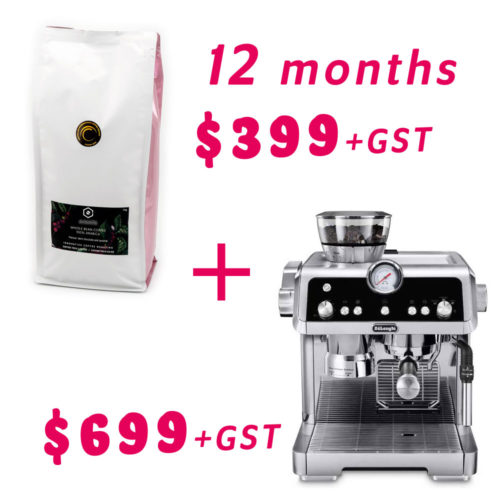 Delonghi La Specialista coffee machine bundled with 12-month Signature Blend coffee subscription